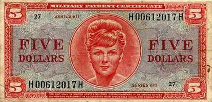 5 Dollar Military Payment Certificate